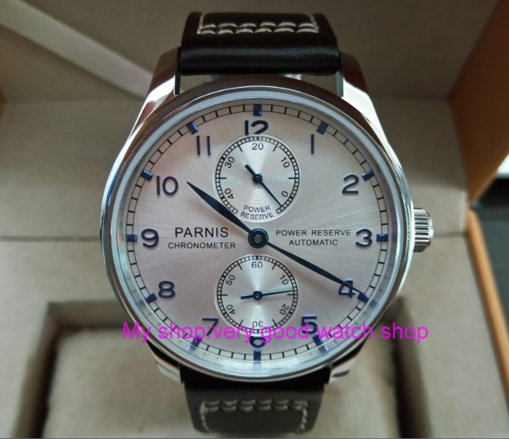 43MM PARNIS Automatic Self-Wind mechanical movement Silvery-white dial men's watch power reserve Mechanical watches DFGD169a 43mm parnis black dial automatic self wind mechanical movement power reserve mechanical watches men s watch x00066