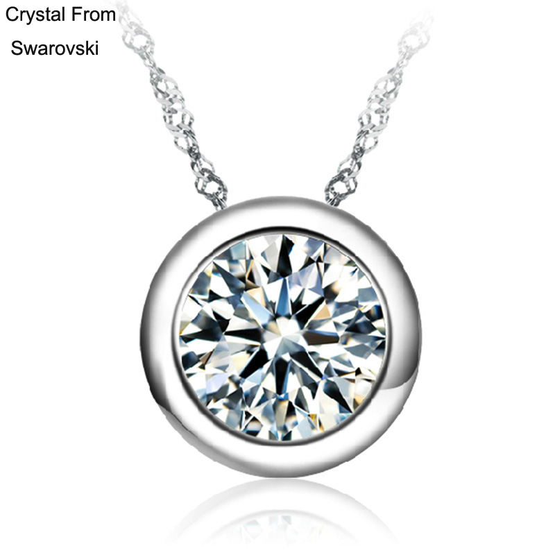 Crystal From SWAROVSKI ELEMENTS Round Crystal Love Lady Pendant Necklace For Woman With Thin Chain Popular Hot Style