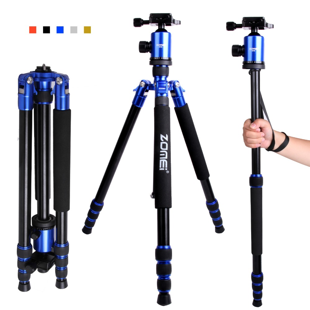 ZOMEI Z888 Professional Portable Tripod Monopod&Ball Head for Digital SLR DSLR Camera 15KG Maximum Loading zomei z888 portable professional aluminium alloy travel tripod monopod z818 for slr dslr digital camera five colors available