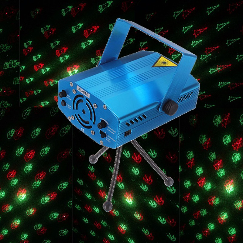 Best Price Mini Voice Control LED Stage Lights R&G Laser LED Stage Lighting Effect Projector Club New Year Decor Disco Lights