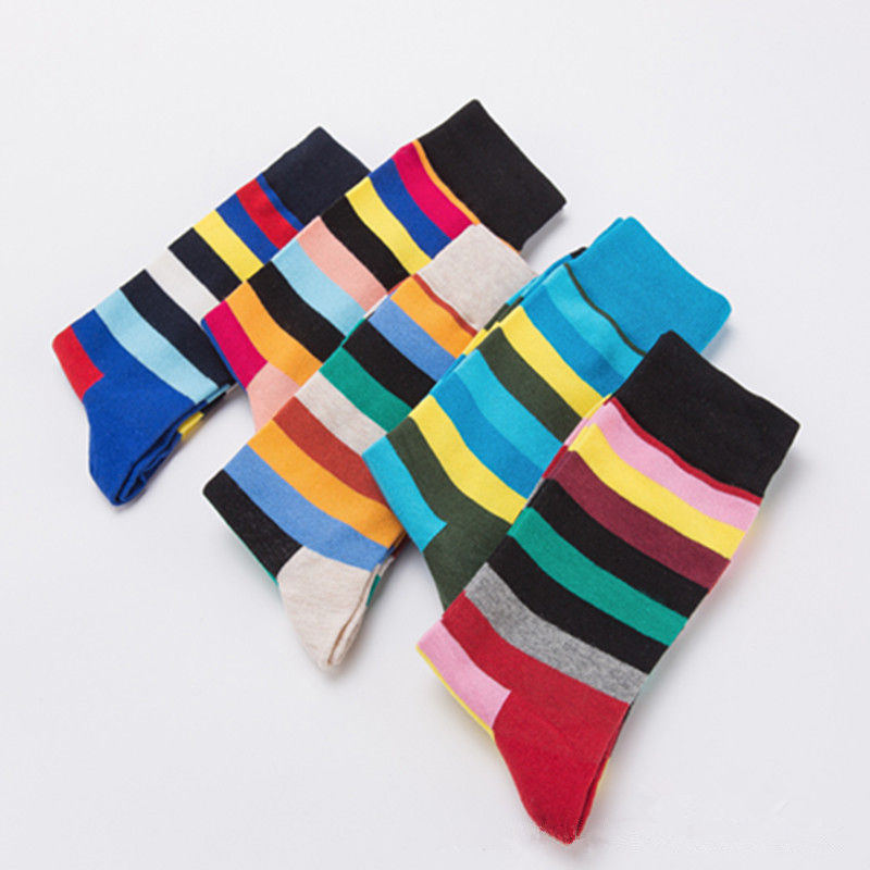 Men socks happy cotton combing sock color stripes mens socks comfortable breathable spring and autumn sock