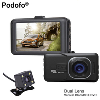 Podofo Novatek 2 lens Car DVR Dual Camera 1080P Full HD Video Recorder With Rear View Cameras Camcorder WDR BlackBox Dashcam
