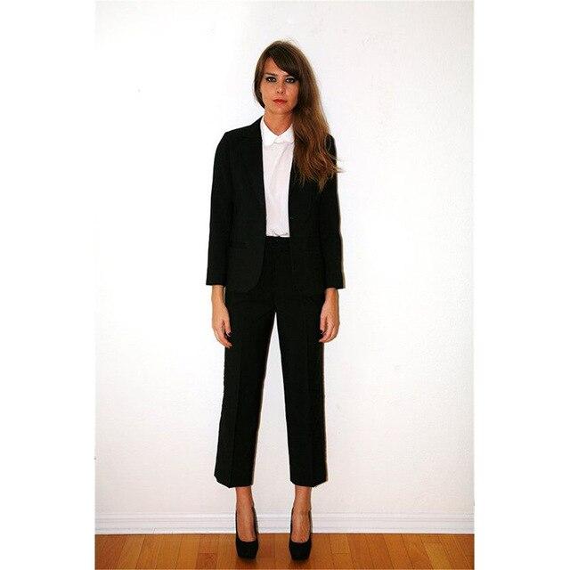 Custom Made Black Women Tuxedos Shawl Lapel Suits For Womens Business Suits One Button 2 Piece Set Women Trouser Suit Blazer Set
