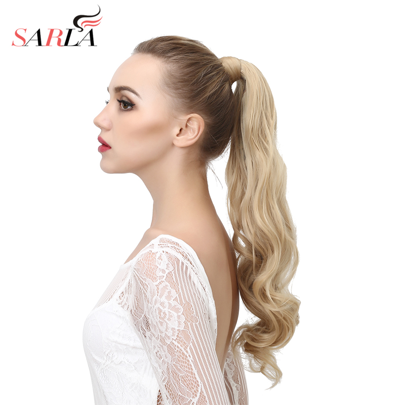 SARLA Long Natural Wavy Ponytail Hair Extension For Women Heat Resistant Wrap Around Clip-in Ponytails Synthetic Hairpieces P002