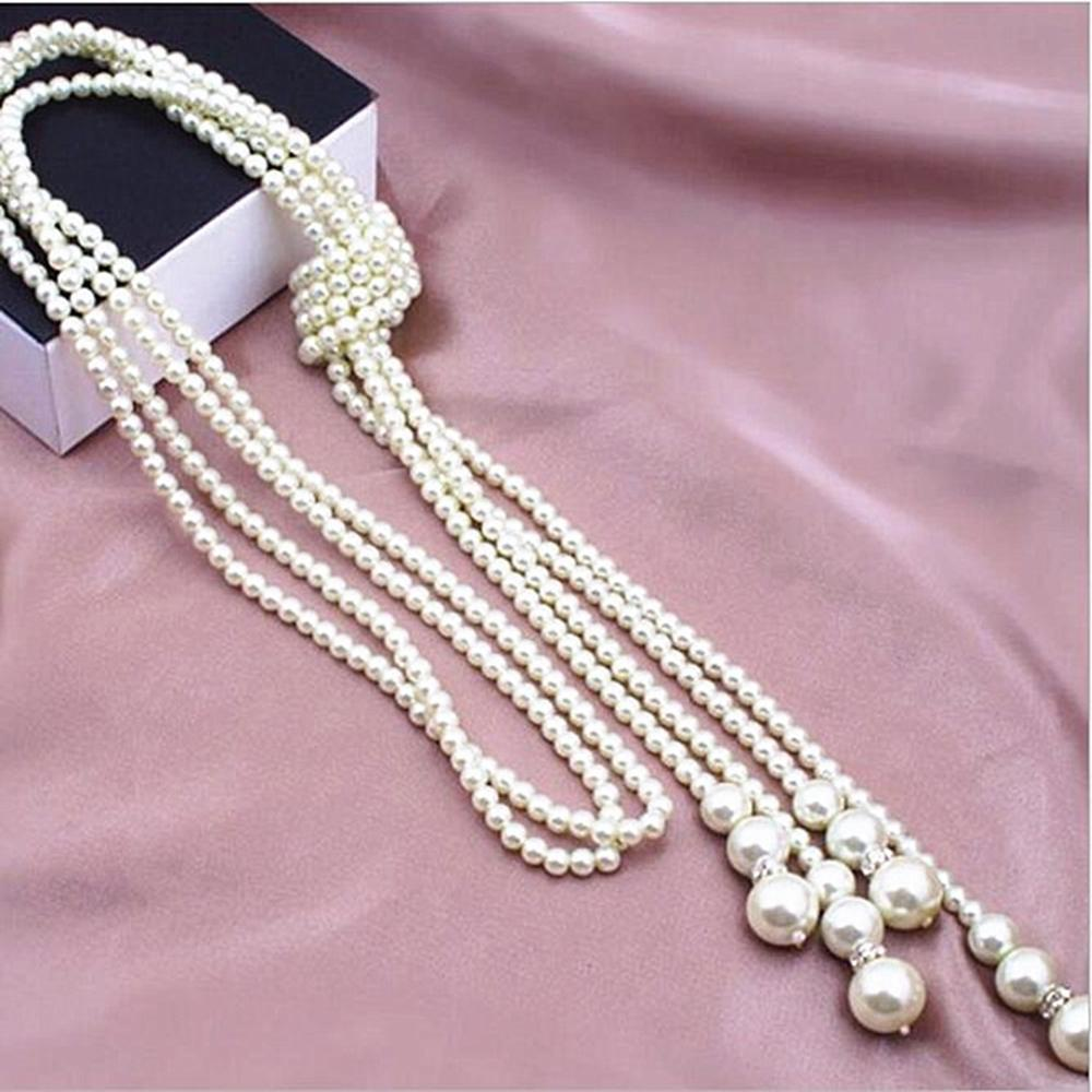 Fashion Double layer Pearl Multi layer Necklace for Women Knotted Tassels Wild Sweater Chain Long Choker Accessories Necklace