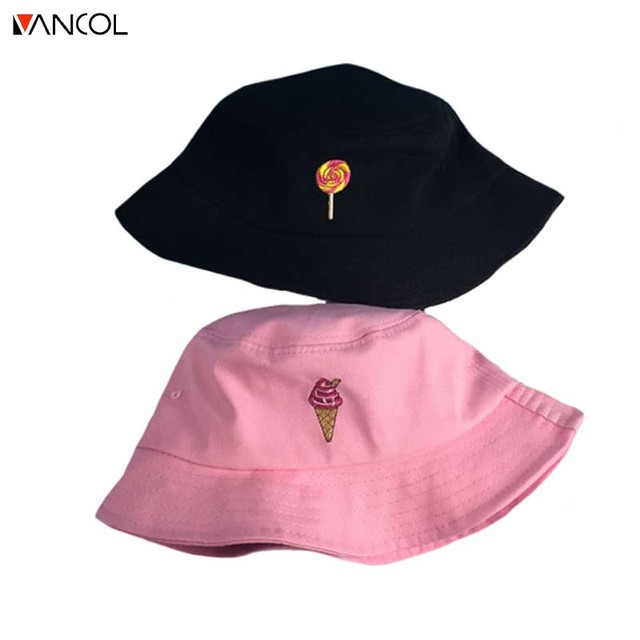2017 Vancoll embroider all seasons korea candy icecream macaron character  printed Sun hat adult unisex hat bucket hat c5503b95c07