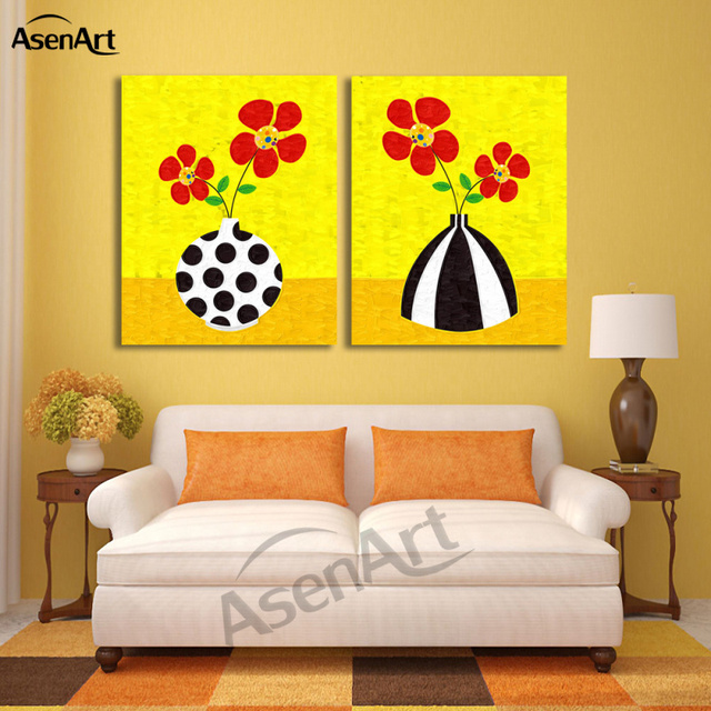 2 Piece Set Cartoon Red Flower Picture Art Vase Painting for Living ...