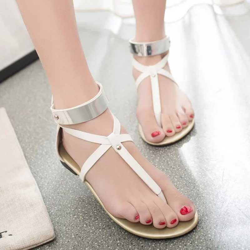 8769b9d29a156 Concise Flat with Women s Sandals Narrow Band Cooling Metal Strip Decoration  Back Zip Easy Wearing Flip Flop Women Shoes XWZ2407-in Slippers from Shoes  on ...