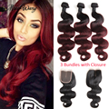 Peruvian Virgin Hair 10A Weave 1b/99j Ombre Hair With Frontal Rosa Hair Products Peruvian Body Wave 3 Bundles Ombre With Closure