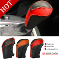 Free Shipping Black Leather Gear Shift Collars Auto Gear Sets Fit For New Santafe New Tucson