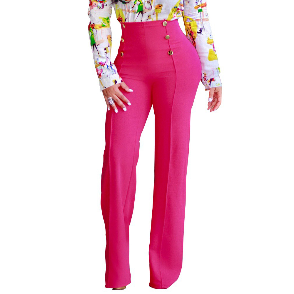 High waist double buttons long pants Women solid wide leg pants Elegant office ladies workwear pants 2018 Autumn maxi trousers