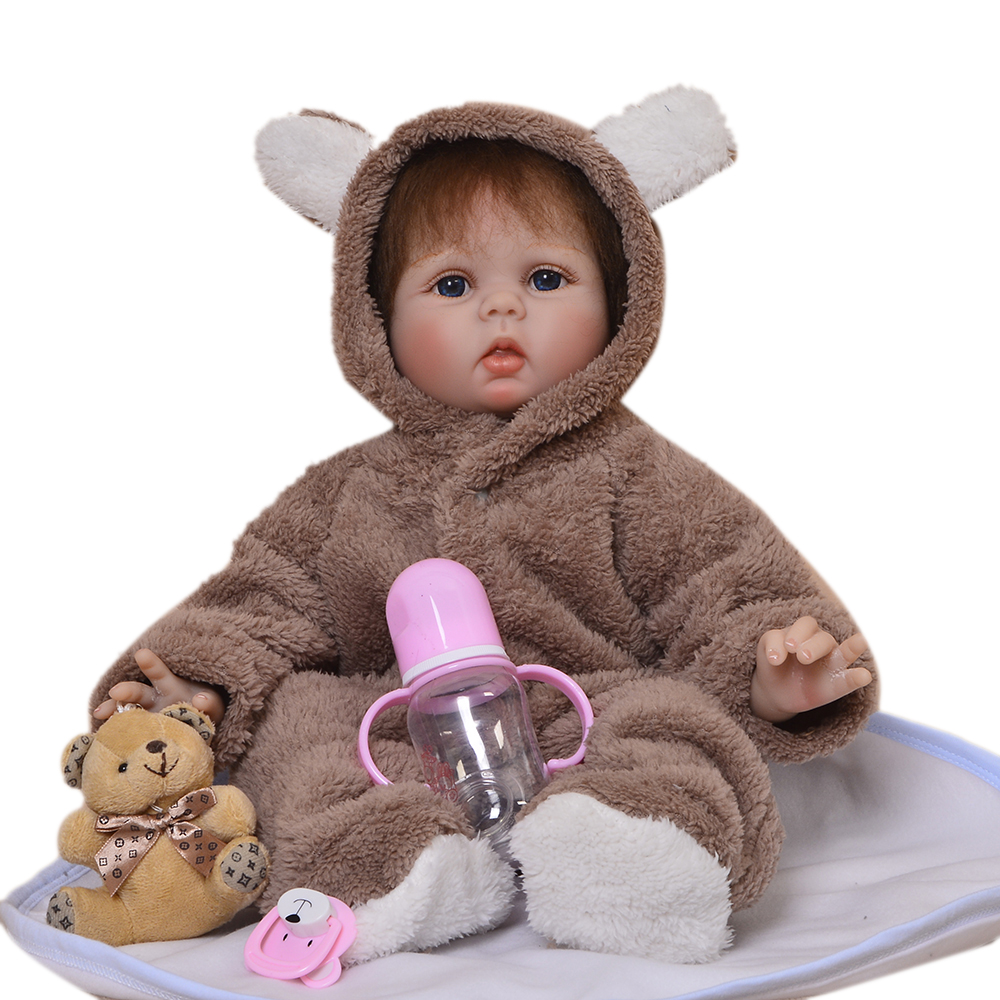 купить Lifelike 22 Inch Cute Dolls Reborn Babies Soft Silicone Vinyl Newborn Dolls Baby Toys For Fashion Children Birthday Best Gifts по цене 5868.44 рублей