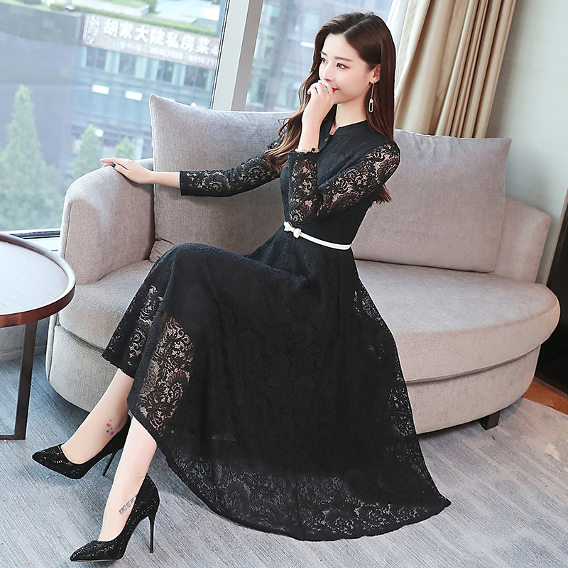 Image 5 - 2019 Autumn Winter Plus Size Vintage Lace Midi Dresses Women Elegant Bodycon Black Maxi Dress Party Long Sleeve Runway Vestidos-in Dresses from Women's Clothing