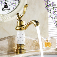 Basin Faucets Crystal Home Decoration Classic Gold-plating Bathroom Sink Taps Deck Mounted Glass Hot and Cold Mixer Tap M-58K