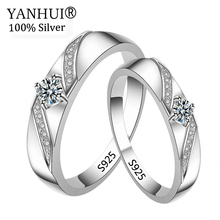 Big 95% OFF! YANHUI 100% Original Solid 925 Silver Wedding Rings for Women and Men CZ Zircon Jewelry Engagement Gift JZ286