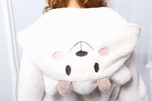 sale retailer 3f684 37974 Nette Einhorn Unisex Weiße Schafe Nachthemd Cartoon Roben männer frauen  Kleid Lange Sexy robe Tier Schlaf Robe femme homewear Bademantel