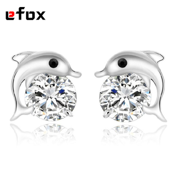 Classic 925 Jewelry Silver Plated Dolphin Earrings Korean Version Of The Lovely Fashion Jewelry Stud Earrings