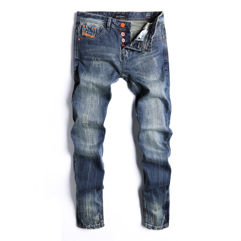 2018 Newly Fashion Men's Jeans Dark Blue Color Classical Denim Pants Ripped Jeans For Men Brand Design Straight Fit Button Jeans