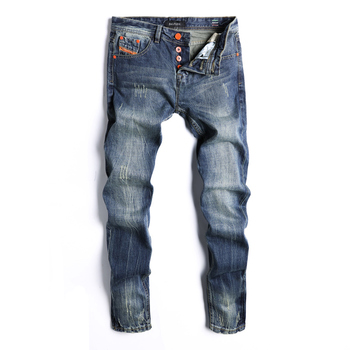 2018 Newly Fashion Men's Jeans Dark Blue Color Classical Denim Pants Ripped Jeans For Men Brand Design Straight Fit Button Jeans orange button fly dsel brand fashion designer jeans men straight blue color printed mens jeans 100