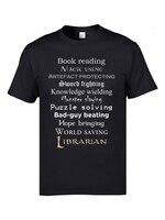 Футболки с надписью «Librarian»; суперскидка; повседневная мужская футболка с круглым вырезом и коротким рукавом из 100% хлопка; футболки для груп...