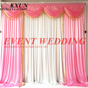 2.4M 3M 6M Long White Ice Silk Backdrop Curtain With Pink Swag Drapery For Wedding Decoration