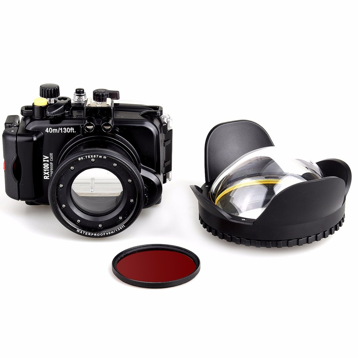 40M Underwater Waterproof Camera Housing Diving Case for Sony DSC RX100 IV RX100 M4 + Red Filter 67mm + 67mm Fisheye Lens