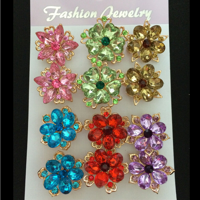 Luxury 12pcs/lot Brooch pins for women wedding party casual dress small colorful crystal brooches ladies brooches hijab pins