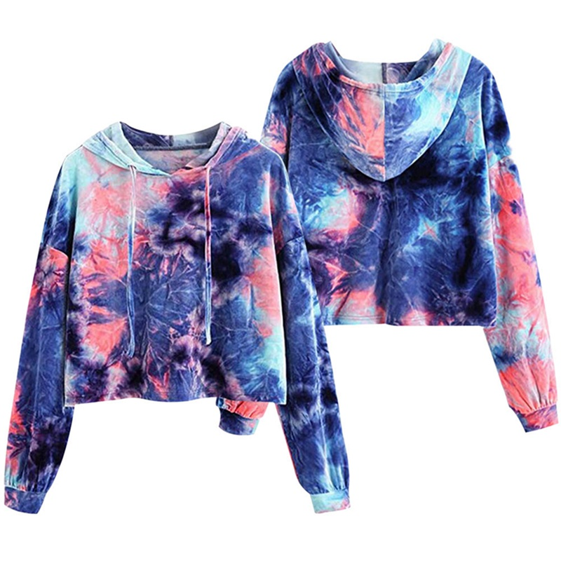Fashion  Hoodies  Long Sleeve Gradient Color With Pockets Hooded With Hood Plus Size Tie Dye Jumper Tye Dye Pullovers