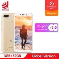 Глобальная версия Xiaomi Redmi 6 3 ГБ 32 ГБ Helio P22 Восьмиядерный процессор 12 Мп + 5 МП двойные камеры 5,45 18:9 полный экран 3000 мАч мобильный телефон