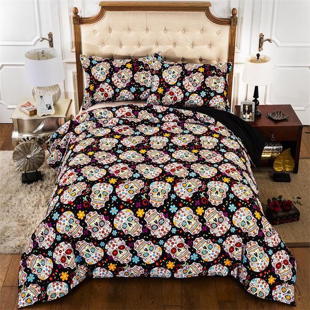 housse de couette Flower Skull Duvet Cover + bed sheet + pillowcase ...