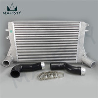 Intercooler + Silicone hose / pipe / piping (Version 2) kits for VW 06 10 VW GTI Golf Turbo V MK5 2.0T FMIC Black