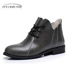купить Genuine Leather Ankle Boots Comfortable quality soft Shoes Brand Designer Handmade grey US 9.5 with fur 2018 spring онлайн