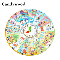 Candywood New 2 Models Puzzles My day 24 hours clock puzzle Four seasons puzzle for Childrens Kids Educational management toys