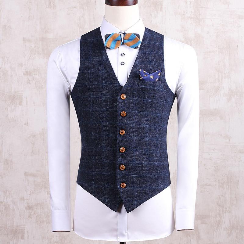 SHOWERSMILE Brand Spring Autumn Navy Blue Casual Suit Vest Sleeveless Jackets Mens Clothing Slim Gilet Plaid Waistcoat Clothes