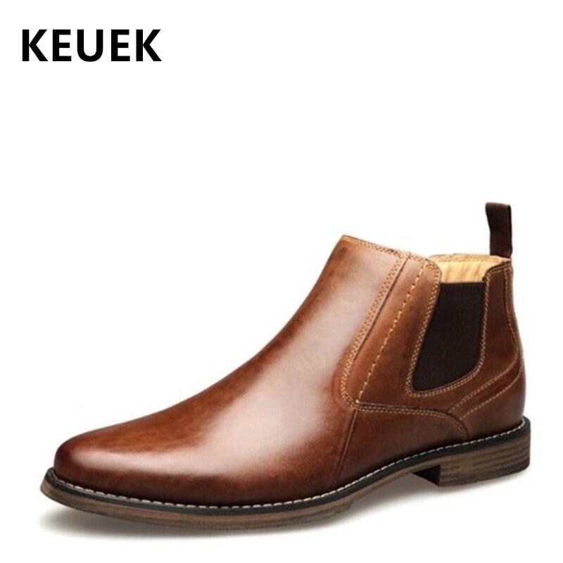 Printemps automne hommes bottes hommes chaussures sans lacet en cuir véritable cheville moto bottes style britannique Chelsea bottes 02A