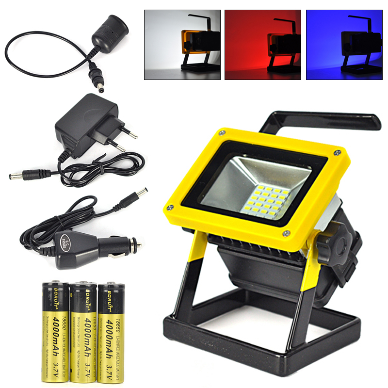 ФОТО 10W Outdoor LED Flood Lights Rechargeable 24 LED Floodlight Camping Work Lamp IP65 Red/White/Blue Light+Charger+3x18650 Battery