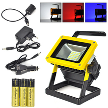 10W Outdoor LED Flood Lights Rechargeable 24 LED Floodlight Camping Work Lamp IP65 Red/White/Blue Light+Charger+3×18650 Battery