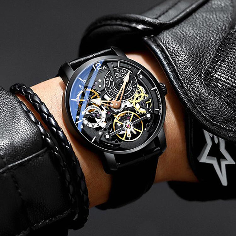 AILANG Skeleton Automatic Mechanical Watches For Men Watch Leather and Steel Strap Black Tourbillon Clock Waterproof