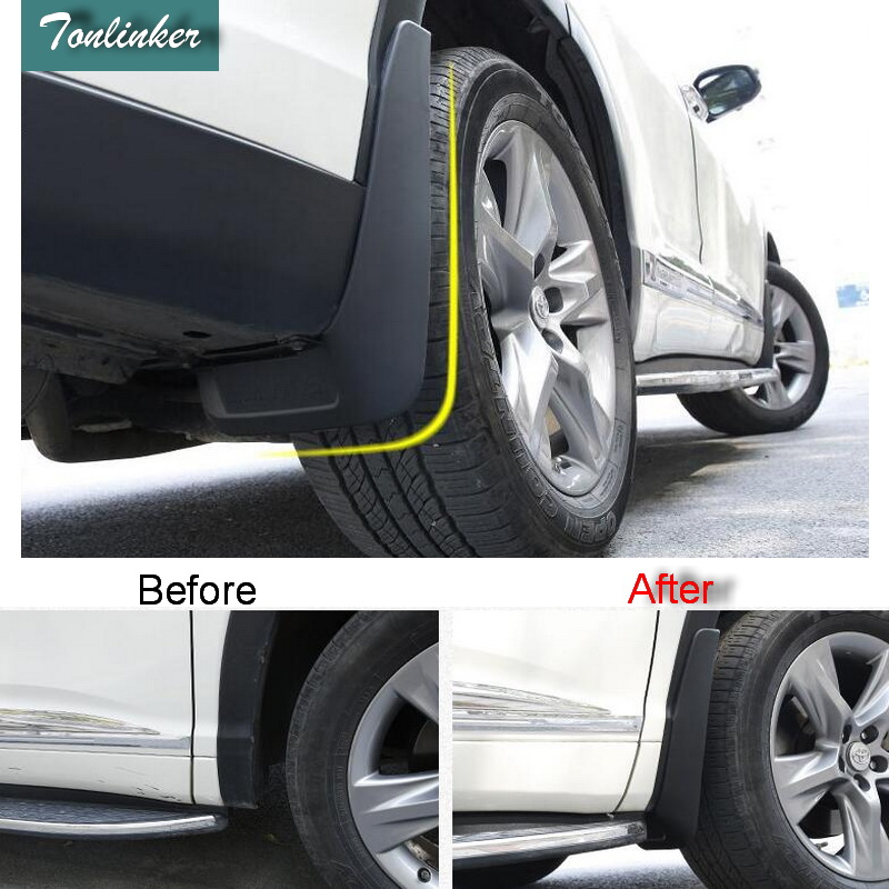 Tonlinker 4 PCS DIY Car styling Green plastic mudguard Stickers for TOYOTA HIGHLANDER 2012 2013 2014 2015 parts accessories
