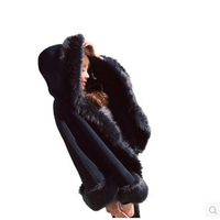 Women Faux Fur Coat Casual Slim Winter Long Faux Mink Jacket With Hood Black Solid Coats Thick Warm Outwear 1KG