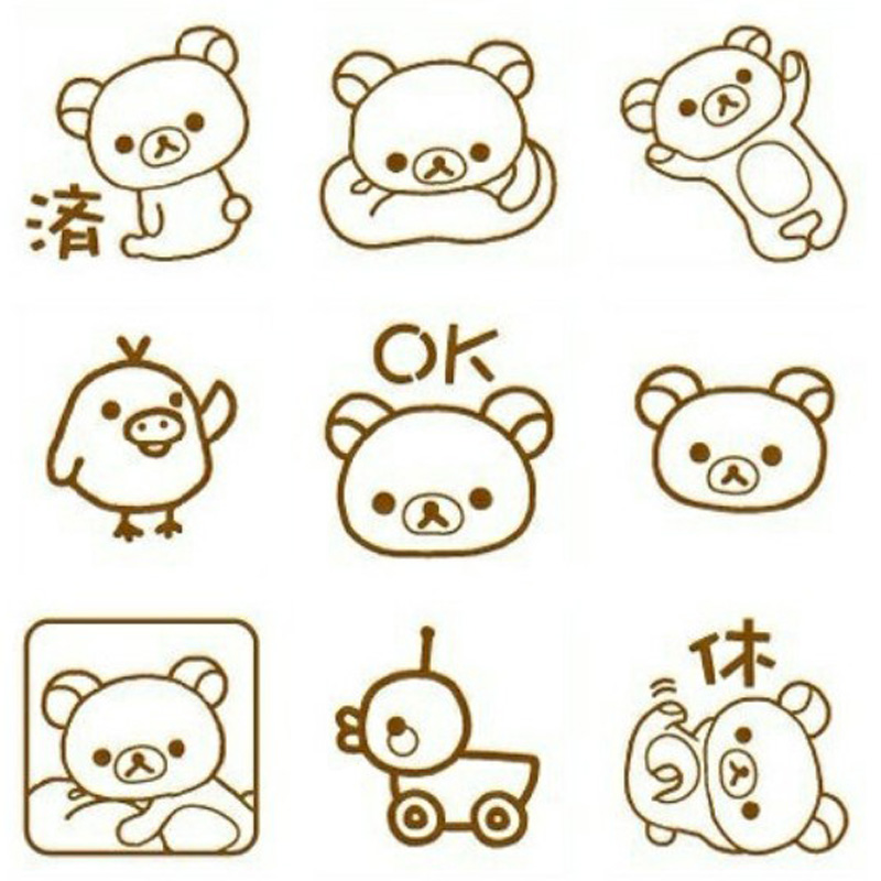 Badge Holder & Accessories Active 9 Pcs/set Kawaii Easy Bear Rilakkuma Stamp Diy Self Inking Photosensitive Seal Without Handle Funny Planner Scrapbooking Stamps Pure And Mild Flavor Labels, Indexes & Stamps