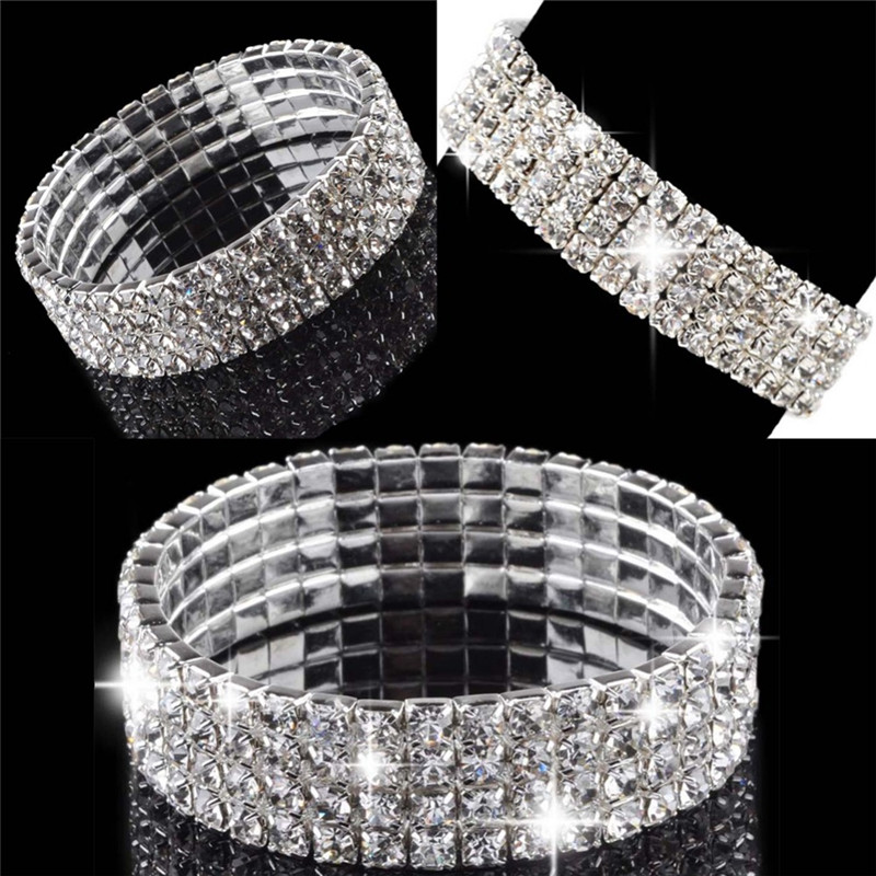 Fashion Luxury Hot Bride Jewelry 1-5 Row Fashion Lady Crystal Rhinestone Stretch Bracelet Bangle Wedding Bridal Wristband Gift