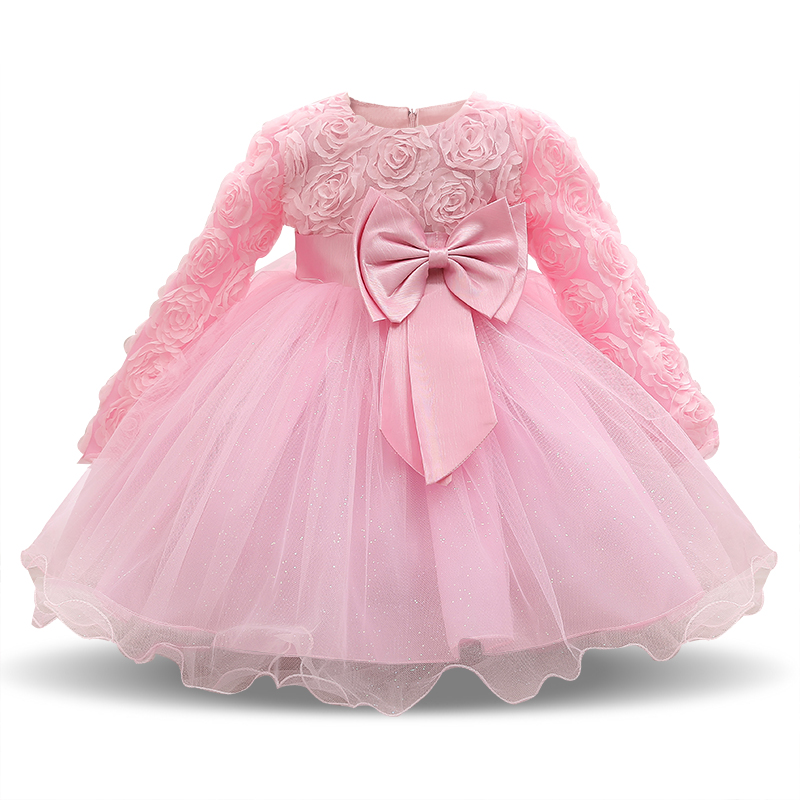 f303522661819 US $9.68 35% OFF|Pink Dress For Girl Long Sleeve White Baptism Dresses Girl  Baby Party Infant 1st Birthday Wear Toddler Girl Christening Gowns-in ...