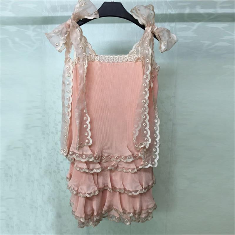 Robe sans manches pour femmes Mini rose été doux une ligne robe de dame 2018 nouvelles femmes robe de mode