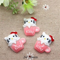 10pcs Cute Cartoon Kitty Pink Cup Resin Flatback Cabochon DIY Scrapbooking Decorative Craft Making,24*28mm