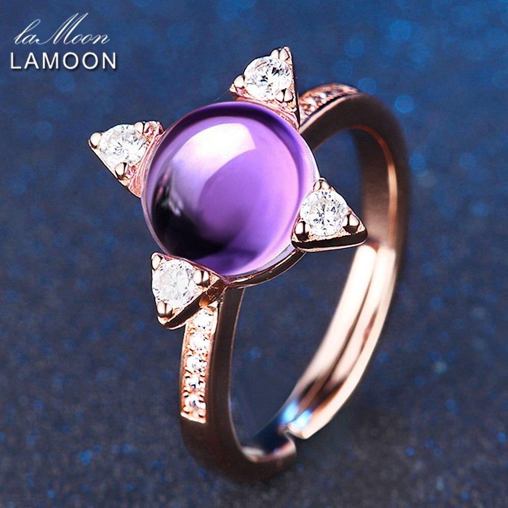 LAMOON 2.1ct Luxus Sterne Ringe für Frauen Natürliche Lila Amethyst - Edlen Schmuck - Foto 5