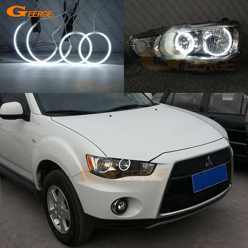 For Mitsubishi Outlander 2010 2011 Halogen headlight perfect compatible Ultra bright illumination CCFL Angel Eyes kit halo rings free shipping super bright ccfl angel eyes halo rings kit for bmw e83 x3 auto headlight 4 rings 2 waterproof inverters page 7