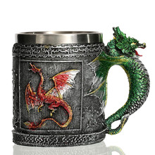 Royal Dragon Mug Resin Stainless Steel Material Coffee Tea Beer Drinkware Exquisite Detailes Medieval Collectib Home Decoration