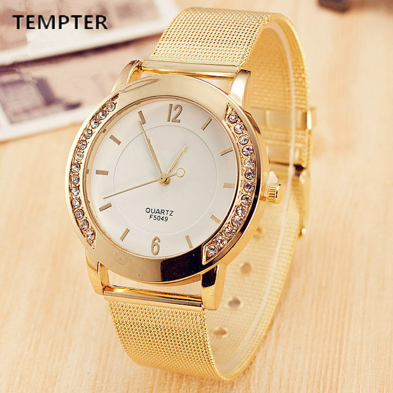 2019 Latest Design Brand Fashion Gold Mesh Quartz Watch Women Metal Stainless Steel Dress Watches Relogio Feminino Gift Clock Pretty And Colorful Watches