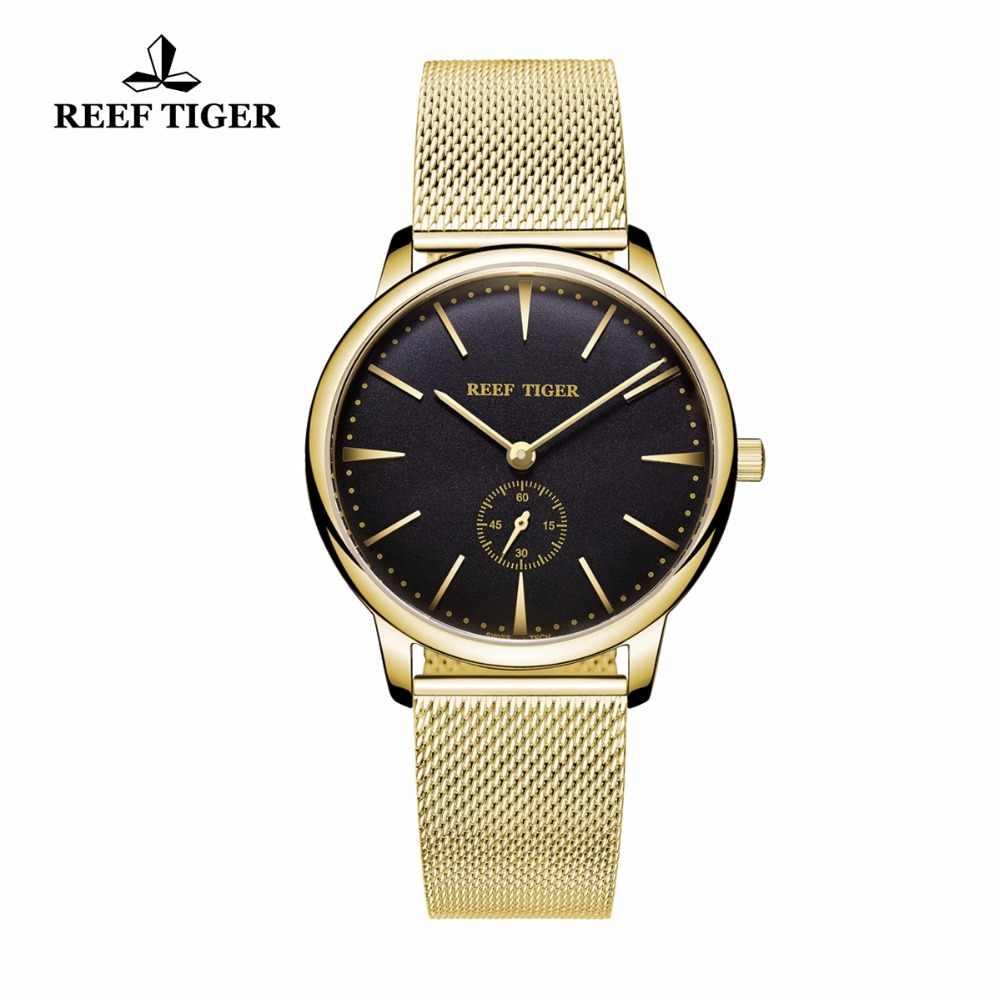 Reef tiger 2019 topo da marca de luxo casal relógios par masculino e feminino ultra fino amarelo ouro analógico relógios para os amantes rga820